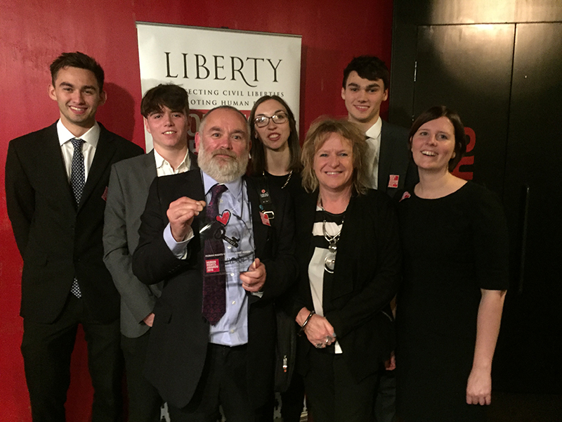 Deborah Coles with Bindmans Solicitors and the family of Connor Sparrowhawk accepting the Liberty and JUSTICE Human Rights Award 2016